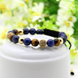 lapis ball 2019 - Wholesale 10pcs lot 8mm Lapis Stone Beads & 9mm Micro Paved Blue Cz Ball Macrame Braiding Bracelet discount lapis ball
