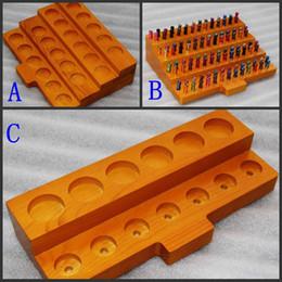 Wholesale Wooden Display Cases Canada - 5pcs Wooden E Cig Display Showcase Stands Wood Ecig Shelf Case Rack For 30ML E-Juice E-Liquid Bottles RDA Atomizer Drip tip Tank DHL