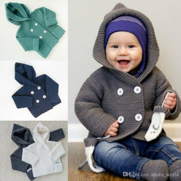 Barato Camisola Dos Meninos Cinzentos-Baby Boy Girl Knitting Cardigan Winter Toddler Girls Sweaters Tops 2017 Autumn Kids Jacket Grey Long Sleeve Hooded Coat 0-24M Fashion