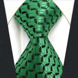 $enCountryForm.capitalKeyWord Canada - A19 Green Black Geometric Silk Wedding Fashion Men Necktie Tie for male Novelty Dress