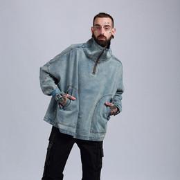 Stand Collar Denim Jacket Canada - Denim Jacket Men Hanging Shoulder OVERSIZE Cowboy Casual Men's Jacket High Street Fashion Stand Collar Outwear Men Coat