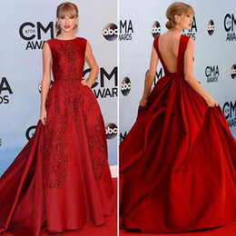 formal celebrity ruffle long dress 2020 - Taylor Swift Long Evening Dress Beaded Backless A Line Embroidery Applique Sequins Beaded Formal Celebrity Dress Evening