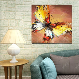 Square Picture Frames Canada - Free shipping Hand drawing beautiful butterfly picture for living room wall decoration abstract wall picture no frame wood