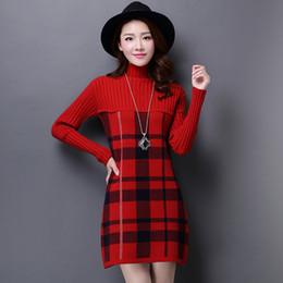 Plaid Turtleneck Sweaters Dress Canada   Best Selling Plaid ...