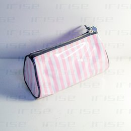 tote bags stripped 2019 - Fashion brand cosmetic case luxury makeup organizer bag beauty toiletry pouch drum clutch purse strip tote boutique VIP