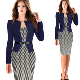 Pearl worked lace online shopping - Slim Square Neck Patchwork Knee length Women Elegant Slimming Work Office Dresses Ladies Houndstooth Knee Length Pencil Dresses With Belt