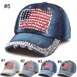 f03891acfc9 2016 Women baseball caps Summer 4th of July American Flag Hat Cowboy  Fashion Rhinestone denim Cap 6 Panels Snapback Leisure Sun Hat C956  discount american ...