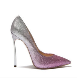 China The new spring and summer high heel is fine with gradient color golden sequins Bride Wedding Shoes Sexy Women shoe shallow mouth nightclub supplier purple glitter stilettos suppliers