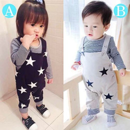 wholesale baby bibs kids Canada - Baby Clothes Girl Boy set Toddler Outfit Clothing Kids Infant Fall Boutique Kids Clothing 2pcs t-shirt Bib short Children Autumn Suit