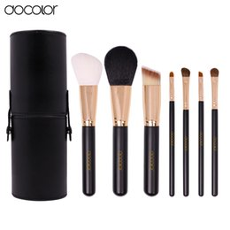 China Docolor High Quality Makeup Brushes 7 Pcs Makeup Brush Set With Copper Ferrule Make Up Tools Kit supplier wood ferrules suppliers