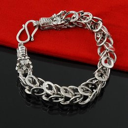 "$enCountryForm.capitalKeyWord Canada - High quality jewelry fashion bracelets and bangles Vintage Dragon Slayer Link Chain Bracelet 10mm 8"" in 925 Sterling Silver jewelry"