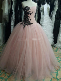 $enCountryForm.capitalKeyWord Canada - Real Photo Princess Ball Gown Pink Prom Dresses Party Dress with Black Lace Appliques and Sequins Vestido de Festa Vestidos Longo Evening Go