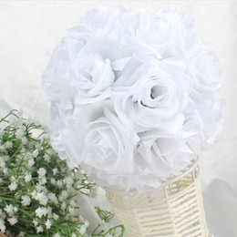 wholesale silk white rose ball NZ - Fashion White Artificial Silk Flower Rose Kissing Balls Wedding Centerpiece Pomander Bouquet Party Decorations Free Shipping