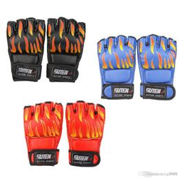 Mma Boxing Glove Canada - PU Leather MMA Professional Flame Muay Thai Training Sanda Mitts Sandbag Punching Sparring Boxing Gloves Half Finger