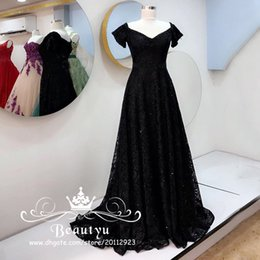 Barato Corset Frisado Manga Prom Vestidos-Elegant Black Lace Prom Dresses With Sleeves 2018 Long A Line Corset Beaded Belt Bling Sequined Formal Party Dress Evening Wear Vestidos