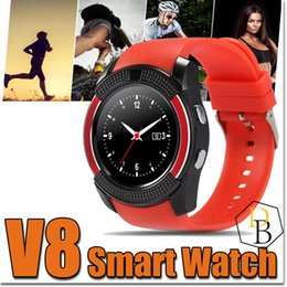 Wholesale micro gps tracker online shopping - V8 Smartwatch Bluetooth Smart Watch dz Android with M Camera MTK6261D Smartwatch Android Phone Micro Sim TF Card With Retail Package