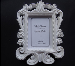 Resin Baroque Frames Canada - Resin White Baroque Photo Frame Wedding Place Card Holder Picture Frames 400pcs lot