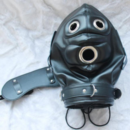 Gode Masque Bouche Bondage Pas Cher-BDSM Bondage Sex Toys bdsm Full Head Harnais Masque Fetish Hood Sexy Slave Headgear Open Mouth Dildo et Blindfold Couple Sexe Restraint Toy