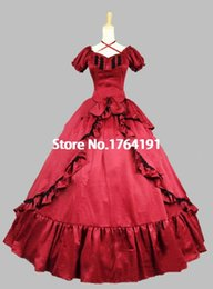 Robes Victoriennes Lolita Courtes Pas Cher-Customized 2016 Brand New Red / Black manches courtes Bow 18ème siècle Gothique Victorian Lolita Dress For Women