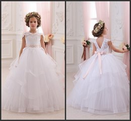 Dress baby party color reD online shopping - 2016 Newest Ivory Baby Girl Dresses Bridesmaid Birthday Wedding Party Holiday Lace Tulle Flower Girl Dresses