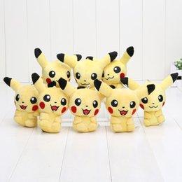 20 pcs 11 cm de bande dessinée Pikachu porte-clés Pikachu Peluche Jouets pendentif Poupées avec anneau doux peluches poupées enfants cadeaux en Solde