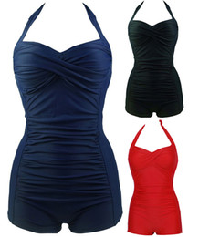 Barato Uma Peça Monokini Swimsuits-Sexy Women One Piece Halter Monokini Padded Bra Boxer Push Up Swimsuit Solid Beachwear Tamanho Plus M ~ 4XL