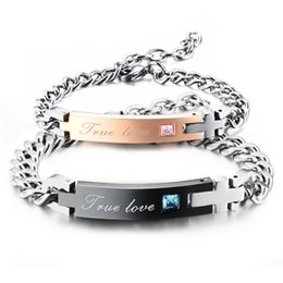 3e76411014 TRUE LOVE Couple Bracelet with Crystal Stainless Steel Bracelet Pair  Bracelets Cross Charm for Women Men Jewelry 2017 Best couples gift