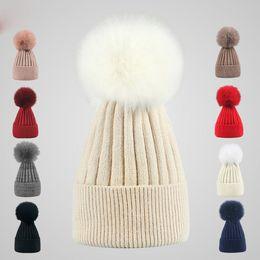 3ad316fd7d8 9 Colors Winter Double twist Beanie Knitted Big Rabbit Hair Fur Pom Poms Hat  Women Cap Headgear Headdress Head Warmer Top Quality