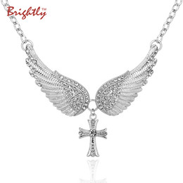 Discount angel gifts - Brightly Hot Sales Statement Choker Necklace Angel Wings Cross Pendants Necklaces For Women Gifts