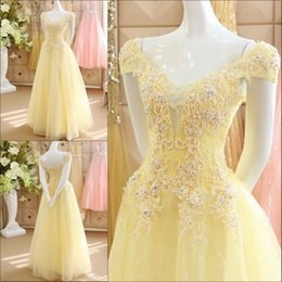$enCountryForm.capitalKeyWord Canada - Light Yellow Lace Applique Beaded Prom Dresses 2017 V Neck Cap Sleeve Lace Up Evening Gowns A Line Floor Length Formal Party Dresses