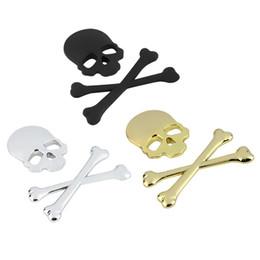 Skull head motorcycle online shopping - 3D M Skull Metal Skeleton Crossbones Car Motorcycle Sticker Skull Emblem Badge car styling stickers accessories