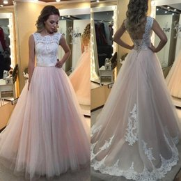 Corset Rose Bon Marché Pas Cher-2017 superbe robe de mariée colorée Robes de mariée en tulle rose à bas prix Robe de mariée à encolure en col large Top Backless Corset Robes de mariée