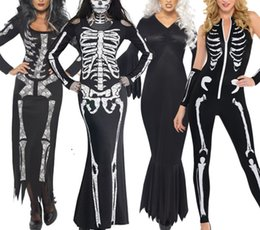 Barato O Crânio Se Veste Mulheres-Halloween Fuuny Costume New Ghost Clothing Cosplay Skull Suit Dress Natal Slim Fit para mulheres 5 Estilo