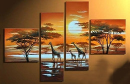 online shopping 100 pure hand painted oil paintings Home decoration hanging pictures TV setting wall hang a picture No frame African elephants landscape pa