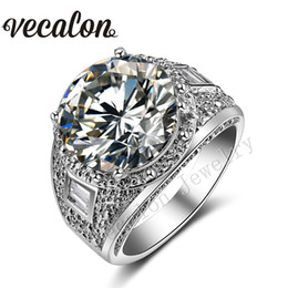 big 18k gold plated rings 2020 - Vecalon Big Round cut 15ct Simulated diamond Cz Engagement Wedding Band ring for Women 18K White Gold Filled Female Part