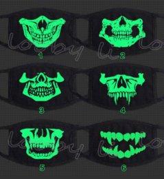 Toptan satış Moda Siyah Cadılar Bayramı Led Kafatası Maskesi Anti Toz Yüz Ağız Maskesi ile Saf Pamuk maske renk