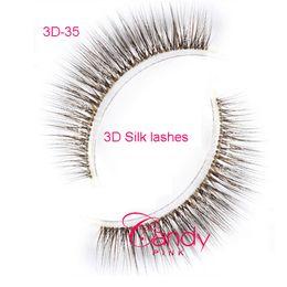 35 Hair UK - 3D-35 3 pair 3D eyelash 100% Handmade crossing lashes brown fake eyelashes 3D silk eyelashes, brown false eyelashes brown lashes