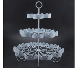 iron cake stands 2019 - Cupcake Holder Wedding Decoration Dessert Display 3 Tiers White Lace Iron Cake Stand Can Hold 22 Cakes discount iron cak