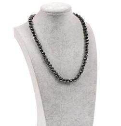 Halsbänder Natur Hämatit Black Pearl Necklace Brasilien Hämatit Metall-magnetischer Therapie Sautoir Halsschmuck für Sport gut für die Gesundheit im Angebot