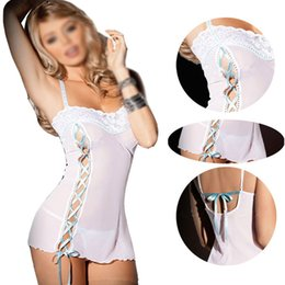 Barato Lingerie Branca Para Mulheres-Atacado- FS Hot White Perspective Lace Split Women Sexy Lingerie Sexy Sexy Sexy Lingerie Sexy Erotica Teddy Lingerie