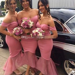 China blush pink off the shoulders mermaid bridesmaid dresses sweetheart neckline backless floor length wedding guest dresses suppliers