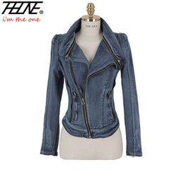 Chaquetas De Mezclilla De Manga Corta Para Damas Baratos-Al por mayor-Otoño Invierno Mujer Denim Jacket Jeans Coat Slim Long Sleeve Cremallera Casual Ladies Vintage Stretch Chaquetas cortas Outwear