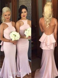 Robe De Demoiselle D'honneur Sirène Rose Rose Pas Cher-BRIDESMAID DRESS 2016 Hot Sexy Backless Long Robe de demoiselle d'honneur soirée soirée Custom Made Discount Mermaid Floor Length Pink Robes de demoiselles d'honneur