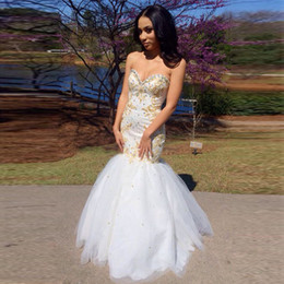 Sweetheart Beaded Evening Tulle Champagne Australia - 2017 Sexy White Mermaid Prom Dresses With Gold Appliques Sweetheart Beaded Embroidery Tulle Floor Length Evening Gowns Party Dresses
