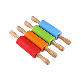 $enCountryForm.capitalKeyWord UK - Colorful Kids Small Silicone Rolling Pin Wood Handle Dough Pastry Roller Children DIY Kitchen Cake Decorating Tools ZA3219