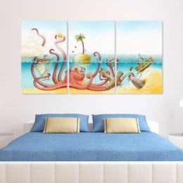 $enCountryForm.capitalKeyWord NZ - Cartoon dancing animal Octopus decoration boat aircraft wall art picture sea sun Canvas Painting children kids room unframed