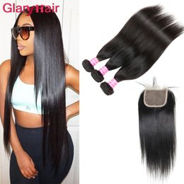 18 inch human hair ponytail online shopping - New Arrival Unprocessed Mink Brazilian Straight Virgin Hair Weaves Closure bundles with Top Lace Closure Remy Human Hair Ponytail Wholesal