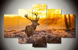 $enCountryForm.capitalKeyWord Canada - Framed art Printed painting Elk painting 5pcs set Group Painting room decor Home decoration canvas art Free shipping F 1796