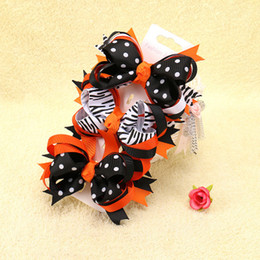 Barato Fita Do Dia Das Bruxas Para Curvas Do Cabelo-Baby Halloween Grosgrain Ribbon Bows WITH Clip Meninas Kids Ghost Pumpkin Baby Girl Pinwheel Clips de cabelo Hair Pin Acessórios A7602