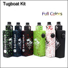 Vape box mod body online shopping - Popular Tug boat Box Mod Start Kit Tuglyfe Unregulated Box vape Mod Kit with Tugboat Mod Aluminum Body RDA Atomizer DHL